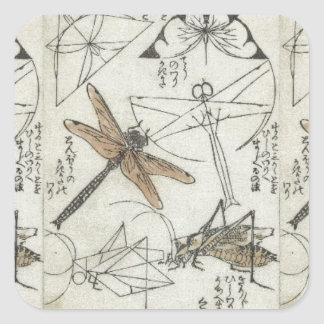 Insectos de Katsushika Hokusai Pegatina Cuadrada