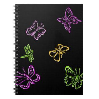 Insectos de neón libros de apuntes con espiral