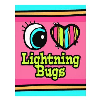 Insectos de relámpago brillantes del amor del cora flyer a todo color