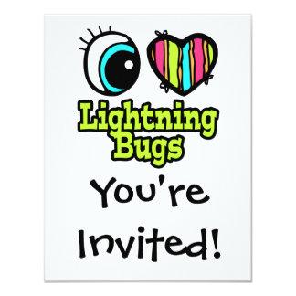 """Insectos de relámpago brillantes del amor del invitación 4.25"""" x 5.5"""""""