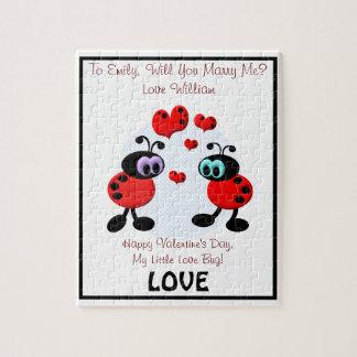 Insectos del amor de la propuesta de matrimonio puzzle con fotos