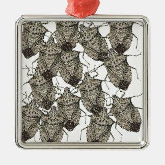 Insectos del hedor bedazzled adorno cuadrado plateado