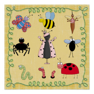 Insectos del poster del cuarto de niños póster