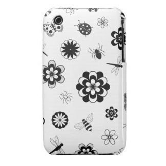 Insectos del vector y flores (versión B) Case-Mate iPhone 3 Protector