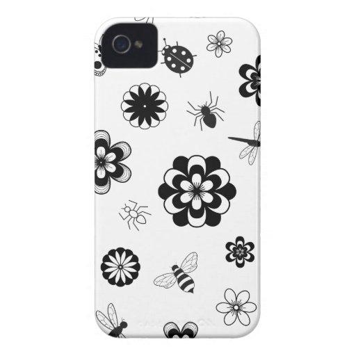 Insectos del vector y flores (versión B) iPhone 4 Carcasa