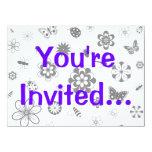 Insectos del vector y flores (versión B) Invitacion Personalizada