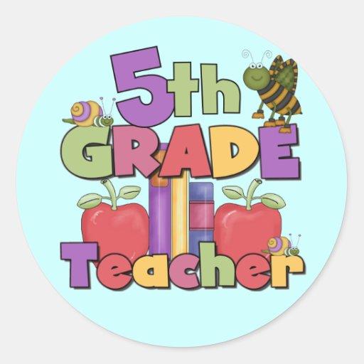 Insectos y 5to profesor del grado de las manzanas pegatina redonda
