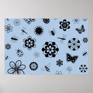 Insectos y flores (azul del vector de cielo de la  póster