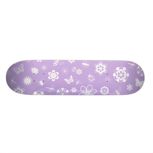 Insectos y flores blancos (púrpura del vector de l patin