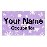 Insectos y flores blancos (púrpura del vector de tarjetas de visita