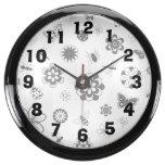 Insectos y flores del vector relojes aqua clock