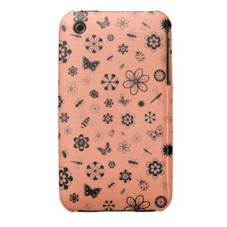 Insectos y flores - fondo del vector del naranja iPhone 3 Case-Mate cárcasas