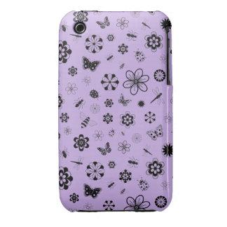 Insectos y flores (fondo púrpura del vector de la Case-Mate iPhone 3 cobertura