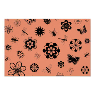 Insectos y flores (naranja del vector de la mandar póster