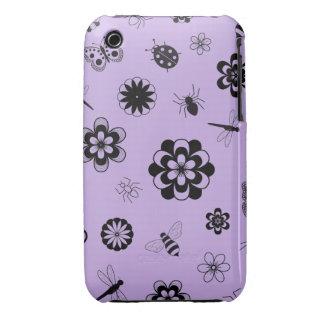 Insectos y flores (púrpura del vector de la lila Case-Mate iPhone 3 cárcasa