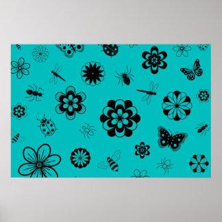Insectos y flores (trullo del vector de la versión póster