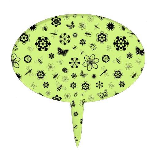 Insectos y flores (verde del vector de hierba) figura de tarta