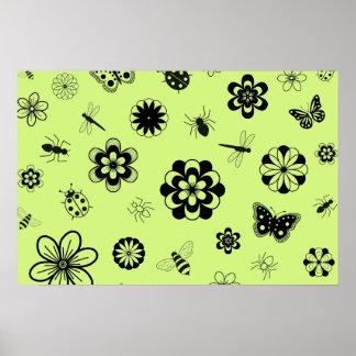 Insectos y flores (verde del vector de hierba de l póster