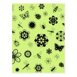 Insectos y flores (verde del vector de hierba de postal
