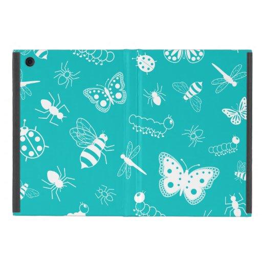 Insectos y mariposas blancos (fondo del vector del iPad mini funda