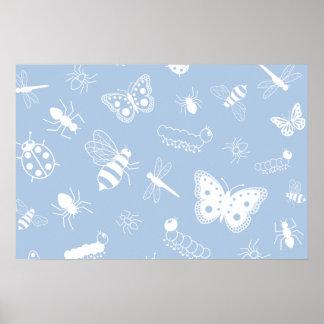 Insectos y mariposas blancos (parte posterior del póster