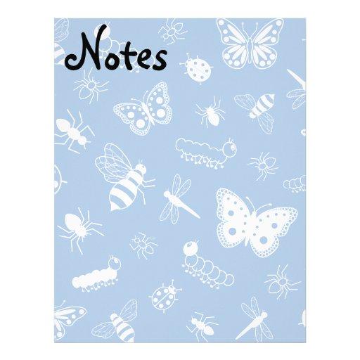 Insectos y mariposas blancos (parte posterior del  membretes personalizados