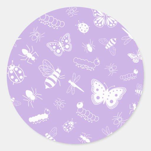 Insectos y mariposas blancos (parte posterior del pegatina redonda