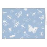 Insectos y mariposas blancos (parte posterior del tarjeta de felicitación