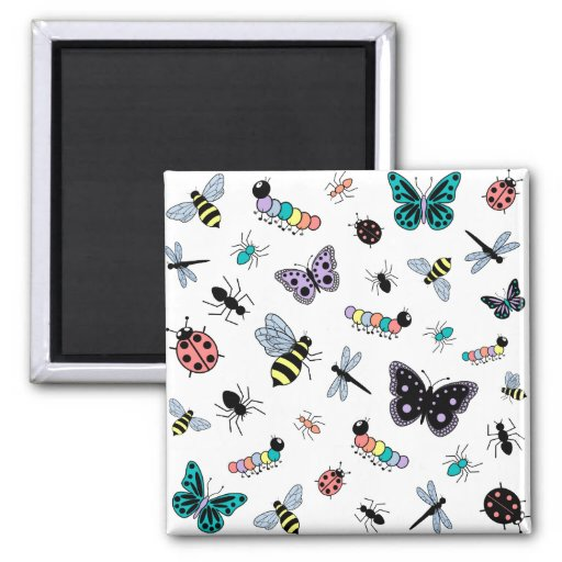 Insectos y mariposas coloridos del vector imanes de nevera