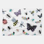 Insectos y mariposas coloridos del vector toallas de cocina