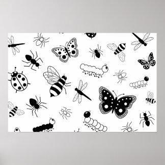 Insectos y mariposas coloridos del vector póster