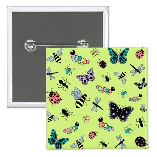 Insectos y mariposas coloridos (parte posterior de pins