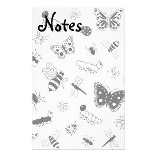 Insectos y mariposas lindos del vector papeleria personalizada