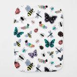 Insectos y mariposas lindos del vector paños para bebé