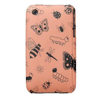 Insectos y mariposas lindos (naranja del vector de Case-Mate iPhone 3 funda