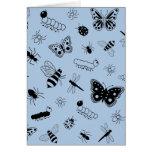 Insectos y mariposas lindos (parte posterior del tarjeta