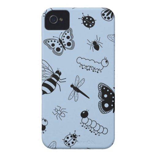 Insectos y mariposas lindos (parte posterior del v iPhone 4 Case-Mate carcasas