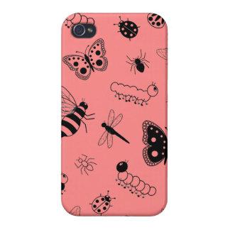 Insectos y mariposas lindos (parte posterior del v iPhone 4 fundas