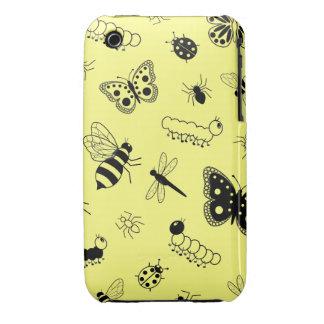 Insectos y mariposas lindos (parte posterior Case-Mate iPhone 3 funda
