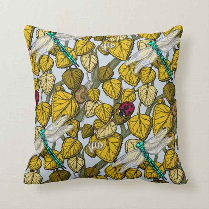 Insects autumn throw pillow