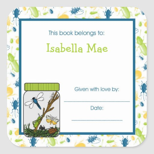 Insects Bug Jar Bookplate Book Plate Sticker