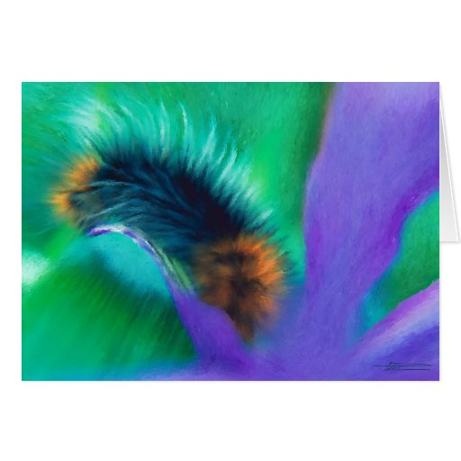 Insects - Caterpillar munches Iris Card