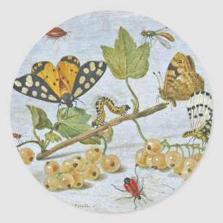 Insects Crawling Classic Round Sticker
