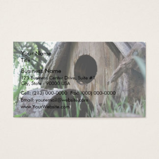 Insect's eye view of wooden bird house business card
