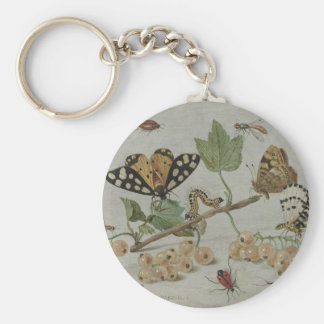 Insects & Fruits Basic Round Button Keychain