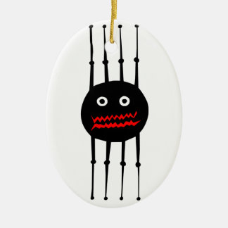 Insects fun cool graphic spider Double-Sided oval ceramic christmas ornament