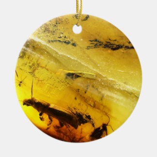 Insects inside amber ceramic ornament