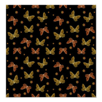 Insects Motif Pattern Poster