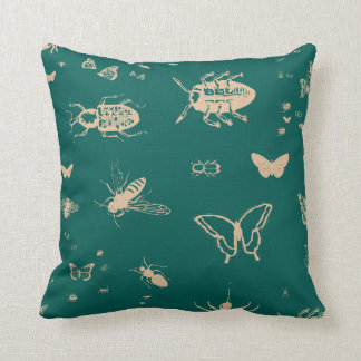 Insects pattern, deep opal green throw pillow