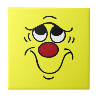 Insecure Smiley Face Grumpey Ceramic Tile
